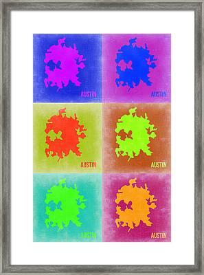 Austin Pop Art Map 4 Framed Print by Naxart Studio