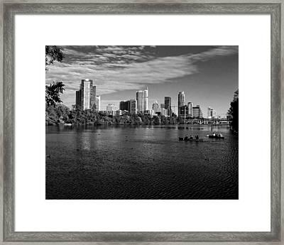 Austin Skyline Bw Framed Print by Judy Vincent