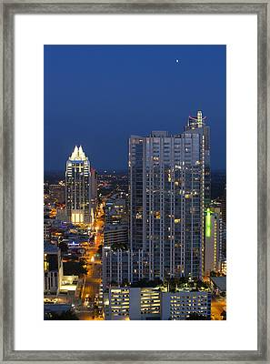 Austin Skyline Images - Frost Tower And The 360 Condos Framed Print by Rob Greebon