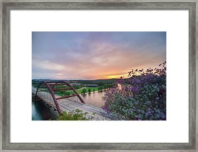 Austin Sunset Over Pennybacker Bridge Hdr Framed Print by Preston Broadfoot
