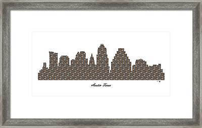 Austin Texas 3d Stone Wall Skyline Framed Print