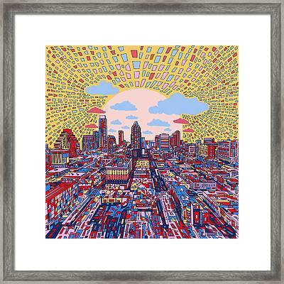 Austin Texas Abstract Panorama 2 Framed Print by Bekim Art