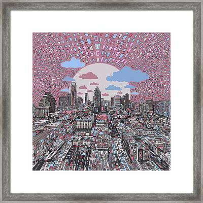 Austin Texas Abstract Panorama 3 Framed Print