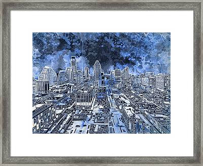 Austin Texas Abstract Panorama 5 Framed Print