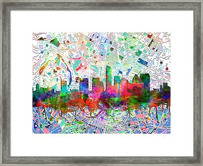 Austin Texas Abstract Panorama 7 Framed Print