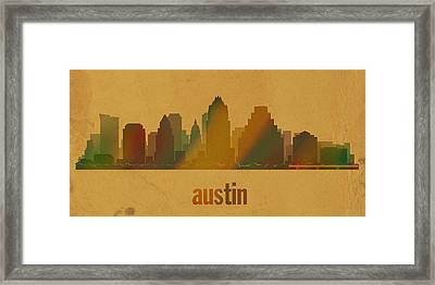 Austin Texas City Skyline Watercolor On Parchment Framed Print