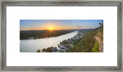 Austin Texas Images - Mount Bonnell Panorama - Late May Sunset Framed Print by Rob Greebon
