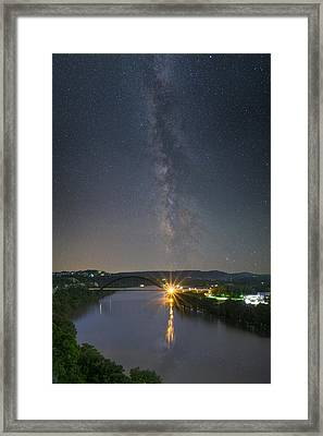 The 360 Bridge And Austin Skyline Under The Milky Way Framed Print by Rob Greebon