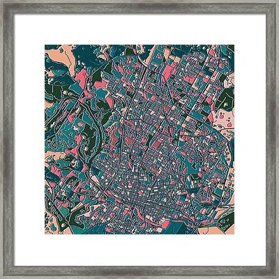 Austin Texas Map Framed Print by Bekim Art