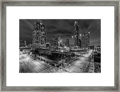 Austin Texas Skyline Get Out The Crane Construction Time Again Framed Print by Silvio Ligutti