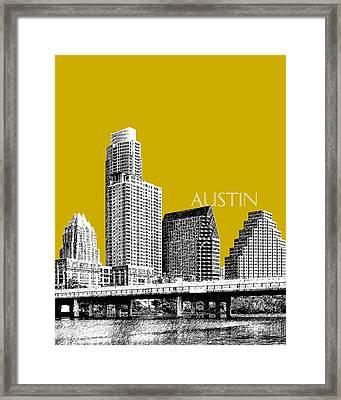 Austin Texas Skyline - Gold Framed Print by DB Artist
