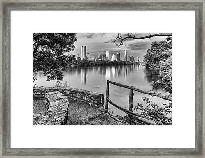 Austin Texas Skyline Lou Neff Point In Black And White Framed Print