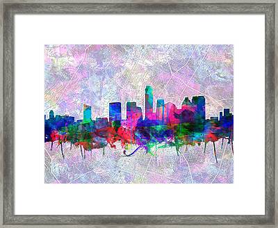 Austin Texas Skyline Watercolor 2 Framed Print