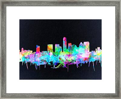 Austin Texas Skyline Watercolor 3 Framed Print