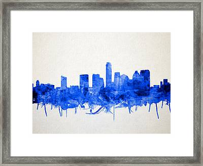 Austin Texas Skyline Watercolor 5 Framed Print