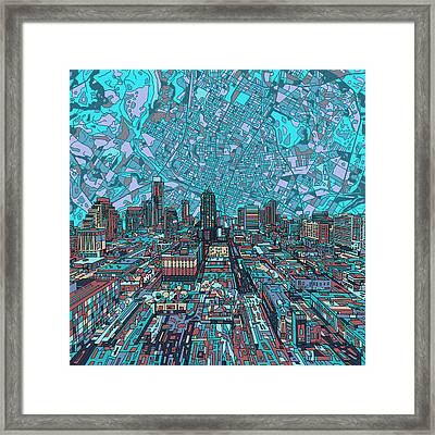 Austin Texas Vintage Panorama 4 Framed Print by Bekim Art