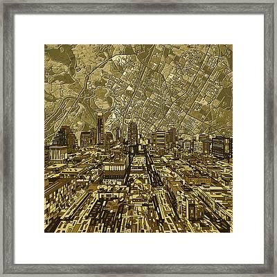 Austin Texas Vintage Panorama Framed Print by Bekim Art
