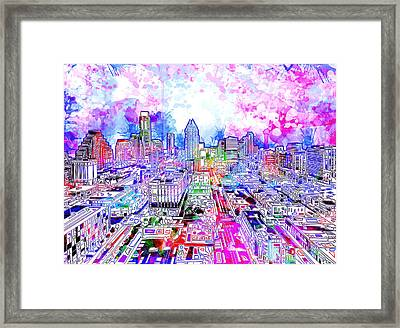 Austin Texas Watercolor Panorama Framed Print