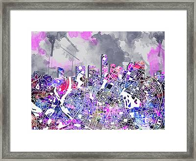 Austin Texas Watercolor Panorama2 Framed Print