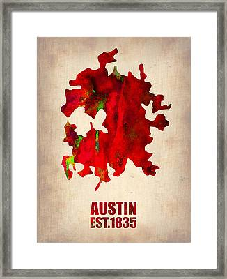 Austin Watercolor Map Framed Print by Naxart Studio