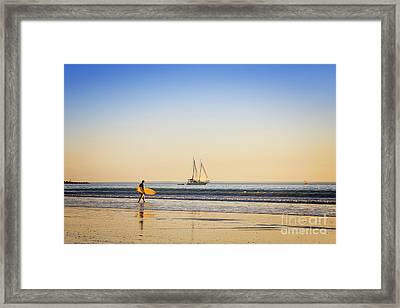 Australia Broome Cable Beach Surfer And Sailing Ship Framed Print