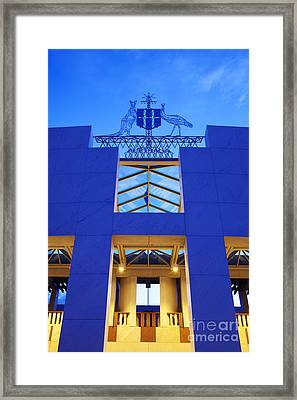 Australia Canberra Parliament House Twilight Framed Print by Colin and Linda McKie