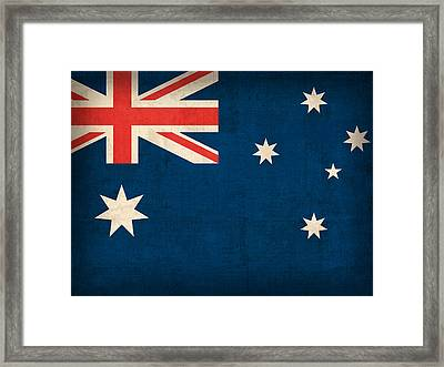Australia Flag Vintage Distressed Finish Framed Print