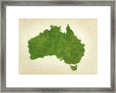 Australia Grass Map Framed Print by Aged Pixel