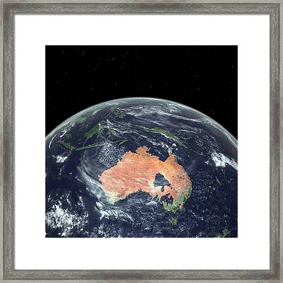 Australia With Sea Level Rise Framed Print by Walter Myers