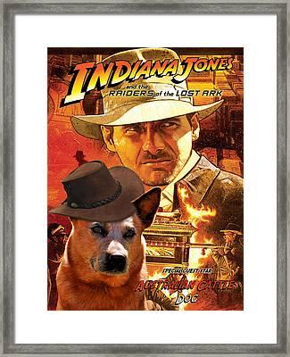 Australian Cattle Dog Art Canvas Print - Indiana Jones Movie Poster Framed Print by Sandra Sij