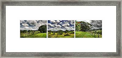 Australian Countryside - Floating Clouds Collage Framed Print by Kaye Menner