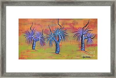 Framed Print featuring the painting Australian Grass Trees by Lyn Olsen