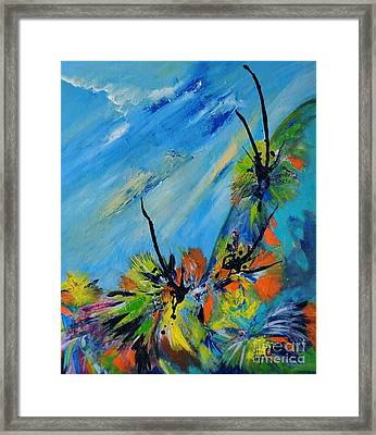 Framed Print featuring the painting Australian Grasstrees by Lyn Olsen