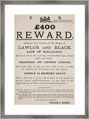 Australian Reward Poster, 1854 Framed Print