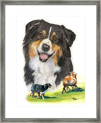Australian Shepherd Herding Framed Print