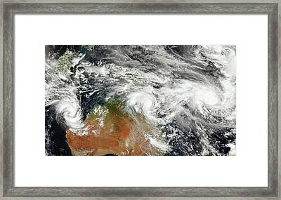 Australian Tropical Cyclones Framed Print by Jesse Allen/suomi Npp/nasa