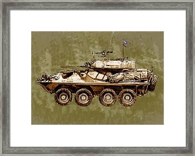Australian's New Army Tank - Stylised Art Sketch Poster Framed Print by Kim Wang