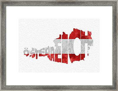 Austria Typographic Map Flag Framed Print by Ayse Deniz