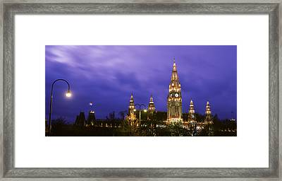 Austria, Vienna, Rathaus, Night Framed Print by Panoramic Images