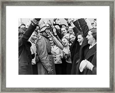 Austrians Cheer Panzer Driver Framed Print by Underwood Archives