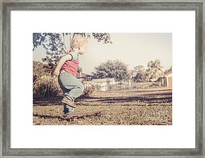 Authentic Faded Brown Vintage Skater Child Framed Print