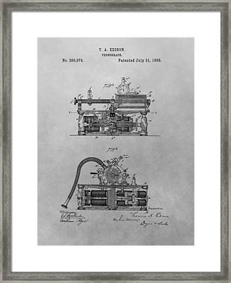 Authentic Thomas Edison Phonograph Patent Framed Print by Dan Sproul