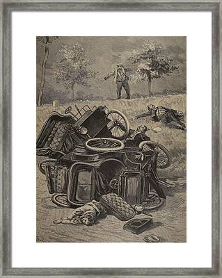 Automobile Accident, Illustration Framed Print by French School