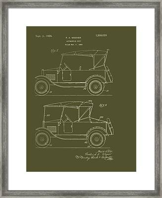 Automobile Body Patent 1924 Framed Print by Mountain Dreams
