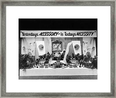 Automotive Accessories Display Framed Print by Underwood Archives