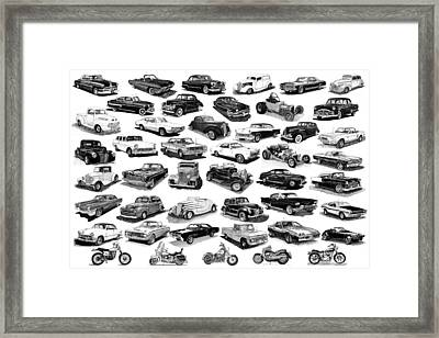 Automotive Pen And Ink Poster Framed Print by Jack Pumphrey