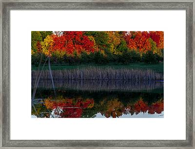 Autum At Orchard Pond Framed Print by Gene Sherrill