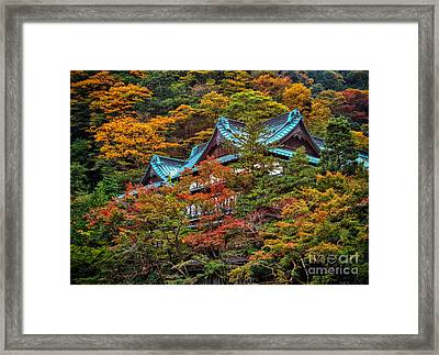 Autum In Japan Framed Print by John Swartz