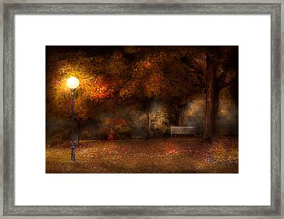 Autumn - A Park Bench Framed Print by Mike Savad