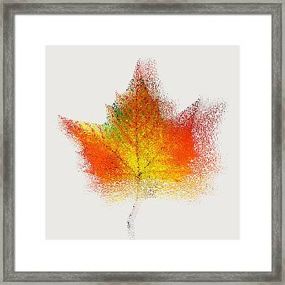 Autumn Abstract Colorful Orange Green Yellow Nature Fine Art Photograph Digital Painting Framed Print by Artecco Fine Art Photography